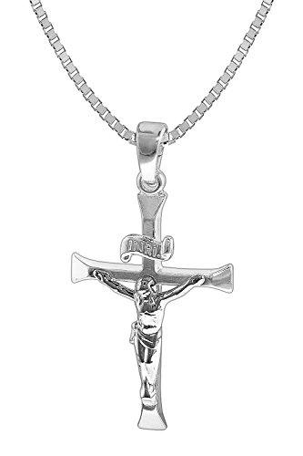 trendor Silber-Herrenkette mit Kreuz-Anhänger 35852