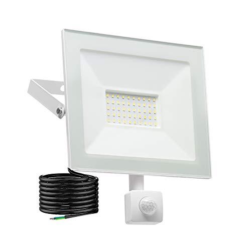 LED Strahler mit Bewegungsmelder außen BTEUR 50W 5000LM LED Außenstrahler Fluter Flutlicht 5000K Tageslichtweiß IP66 Wasserfest Flutlichtstrahler Aluminium Scheinwerfer Licht