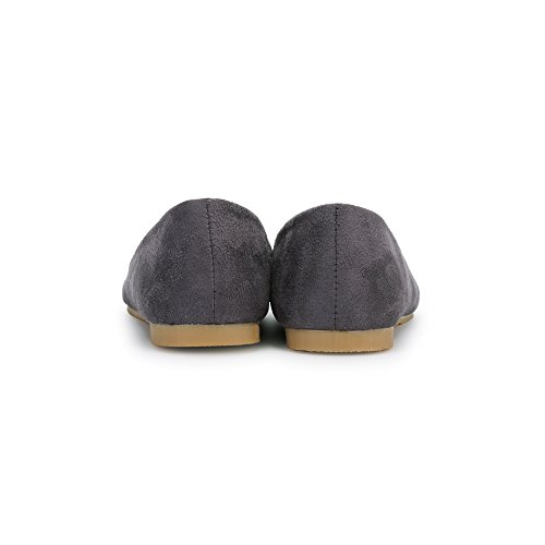 OCHENTA Femme Ballerine Plat Suedine Simple Pointu Mode Casual Gris