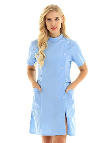 iEFiEL Damen Krankenschwester Uniform mit Knöpfe Sexy Kurzarm Kleid Frauen Babydoll Baumwolle Lingerie Dessous Cosplay Rollenspiele Himmelblau XX-Large - Wissenschaftler-kittel