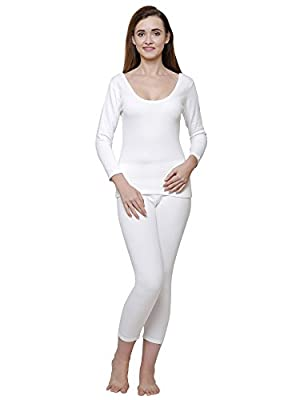 BODYCARE Off White Solid Women Thermal Top