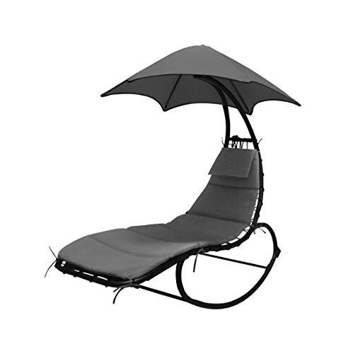 LINDER EXCLUSIV Schwebeliege mit ergonomischer Liegefläche einschließlich Nackenkissen und Sonnendach anthrazit