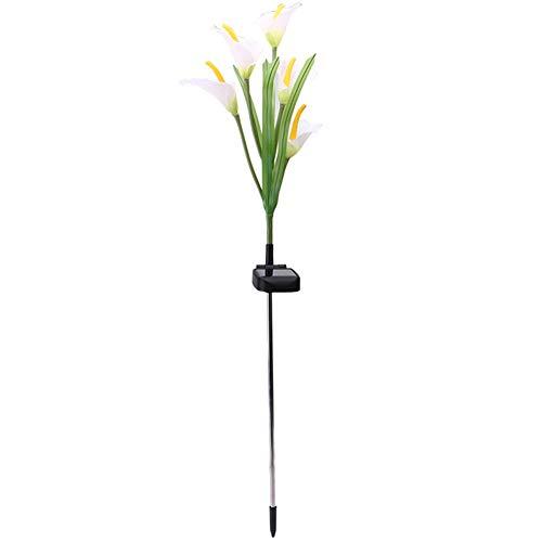 Hemore Solar Flower Stake Lights Farbwechsel Solar LED Flower Lichter für Garten Patio Hinterhof dekorieren Weiße Lilie Blume 1 Stück