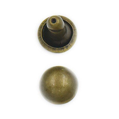 Leder-nieten-cap (fujiyuan 50 Sets 8 mm Doppelgewölbte Kappe Nieten Pilz Nieten Rapid Leder Handwerk Tasche Kleidung Armband Bronze)