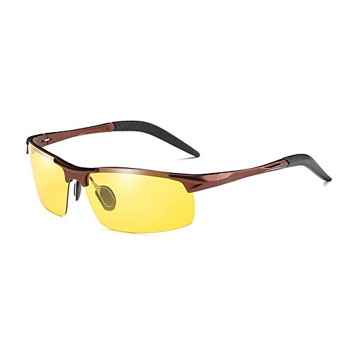 GXM-SG Tag und Nacht Sonnenbrillen mit doppeltem Verwendungszweck, intelligente Sonnenbrillen mit Farbwechsel, blendfreie UV400-Schutzbrillen, Driving Fishing Golf-Brillen,Abronzeframe