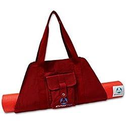 Bolsa de Yoga »Sumantra« / Mochila de Yoga para esterillas de Yoga y Pilates extragrandes de hasta 100 cm de Ancho/Rojo Burdeos