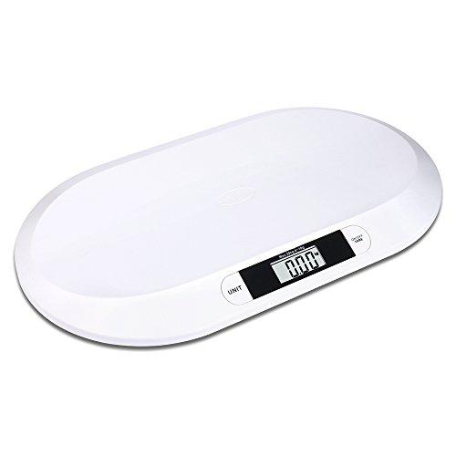Báscula para bebés de hasta 20kg. Dimensiones:55cm x 33cm x 3,8cm, gran display LED con una precisión +/-10 g; función de apagado y de tara automáticos,  funciona con pilas (2 pilas AAA no incluidas).