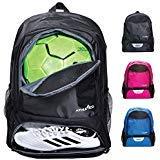 Athletico Youth Soccer Bag – Zaino da Calcio e Borse per Basket, pallavolo e Calcio, per Bambini, Ragazzi, Ragazze, Bambine, Include Tacchetta separata e Scomparto per palloni, Nero