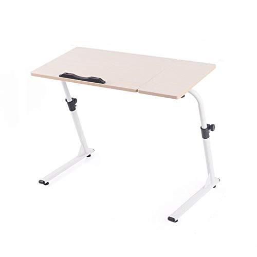 BinLZ-Table Easy Bedside Laptoptisch Klappbarer Lazy People Tisch Nachttisch mit Sofagarnitur Frei Höhenverstellbar Farbe Optional, Weißer Ahorn -