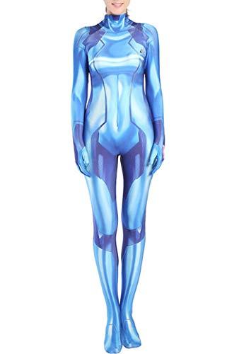 Yewei Spiel Metro Samus Kostüm Overall Damen Kind Comic Cosplay Jumpsuit Bodysuit (Blau, L)