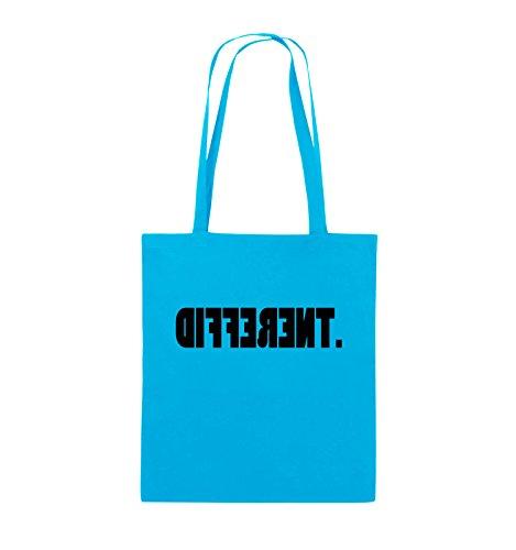 Comedy Bags - DIFFERENT - gespiegelt - Jutebeutel - lange Henkel - 38x42cm - Farbe: Schwarz / Pink Hellblau / Schwarz