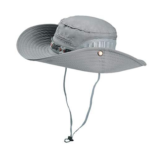 Fenverk Sonnenhut Herren Damen UV Schutz Safari Hut Faltbar Sommerhut Gartenhut Wasserdicht Outdoor Buschhut Fischerhut (Ich grau)