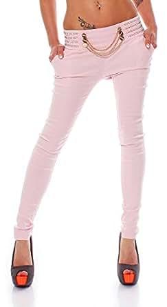 10034 Fashion4Young Damen Treggings Hose aus elastischem Stretch-Material verfügbar in 5 Gr 4 Farben (L = 40, Rosa)