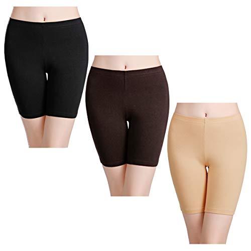 wirarpa Unterhosen Radlerhose Boxershorts Damen Hoher Bund Baumwolle Shorts Panties Lange Unterwäsche 3er Pack Mehrfarbig Größe 44 46 Kleid Hose