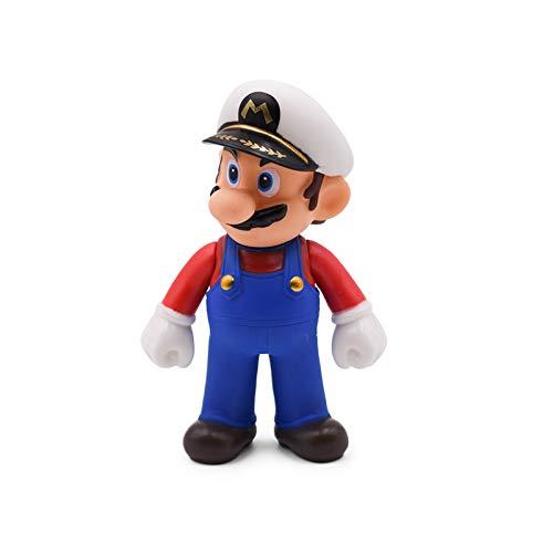 CY 13 cm Super Mario Bros Luigi Mario Yoshi Koopa Mario Maker Odyssey Mushroom Toadette PVC Action-Figuren Spielzeug Modell Puppen (White hat Mario) (Mario Hats Super Bros)