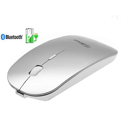 TSMINE Bluetooth Mouse Wiederaufladbare Slim Silent Wireless Mäuse für MacBook, iMac, Computer, PC, Laptop, Windows/Android Tablet, integrierte Batterie (Standby von 180 Tagen) - Silber - Wiederaufladbare Bluetooth Laser Maus