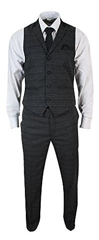 Ensemble costume pantalon gilet homme tweed gris à carreaux noirs et chevrons coupe cintrée slim look vintage