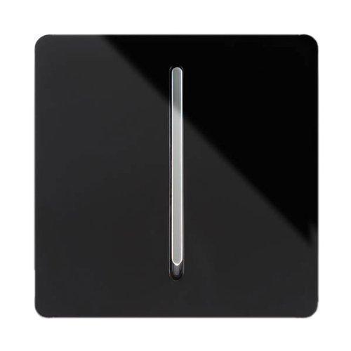 Preisvergleich Produktbild Trendi Switch Lichtschalter 1 Gang 2 Weg Künstlerisch Modern Hochglanz 10 Amp Wippschalter Lichtschalter Schwarz