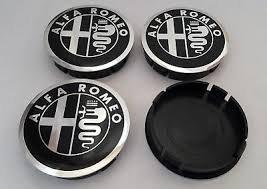 Alfa Romeo Radnabenkappen für Alufelgen, schwarz, 60mm, vier Stück.