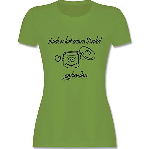 Sprüche - Auch er hat einen Deckel gefunden - S - Hellgrün - L191 - Damen T-Shirt Rundhals