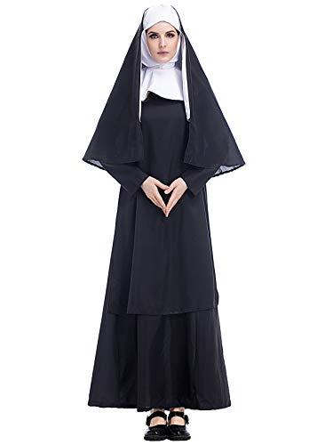 Lecoyeee Damen Nonnen Kostüm Halloween Zombie-Nonne Kostüm Set Kopfbedeckung,Kleid,Umhang Erwachsene Horror Kostüm Karneval Verkleidung Kirche Cosplay Party Priester Faschingskostüm Größe - Nonne Kostüm Für Erwachsene
