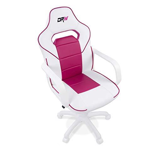 Adec - DRW, Silla de escritorio estudio o despacho, sillón gaming acabado en color Blanco y Rosa, medidas: 60 cm (ancho) x 98 - 108 cm (alto) x 45 cm (fondo)