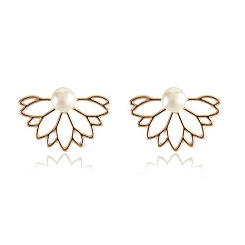 QIR-E Women\'s zarte Ohrringe mitPerlen vorne und hinten Nieten, Gold