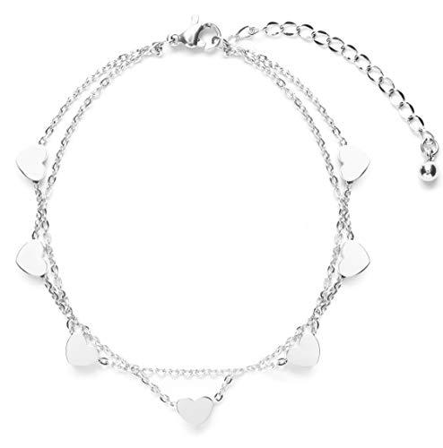 Happiness Boutique Damen Herz Armband Silberfarbe | Zartes Mehrreihiges Armband Filigrane Armkette Titanschmuck -
