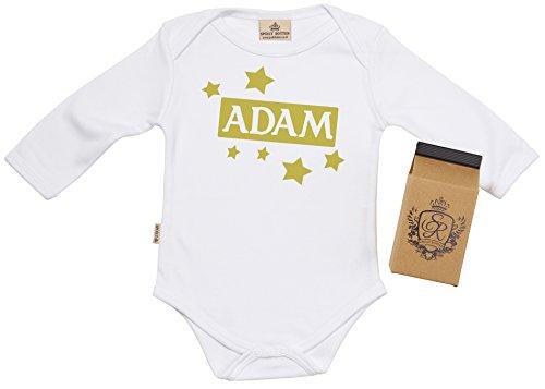 SR - Milchtüte Geschenkbox - Individualisierter Persönlicher Name Box & Stars Baby-Strampler - Strampelanzug - Individualisierter Baby Geschenkset, Weiß - 0-6 Monate (Strampelanzug Name)