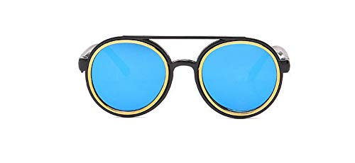 Sonnenbrille 3-7 Jahre Kinder Sonnenbrille Vintage Runde Gläser Süße Jungs & Mädchen Reflektierende Linse Kind Eyewear Schwarz Blau