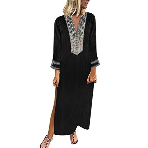 Sommerkleid Damen Leinen Kleider Damen V-Ausschnitt Strandkleider Einfarbig A-Linie Kleid Boho Knielang Kleid Ohne Zubehör -