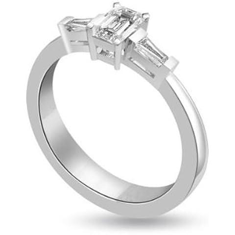 0.75ct H/SI1 Diamante Trilogy Anello da Donna con Smeraldo & Baguette diamanti in 18kt Oro bianco - Smeraldo Baguette Anello