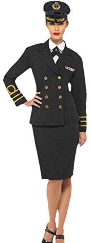 Navy Kostüm Offizier - Halloweenia - Damen Offiziers Navy Army Kostüm mit Hut, L, Dunkelblau