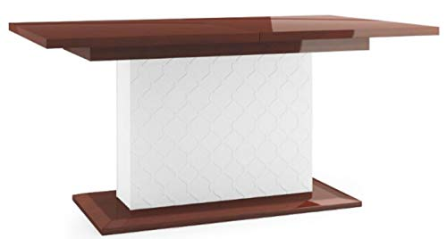 Moderner Ausziehbarer Esstisch (Casa Padrino Luxus Esstisch Hochglanz Braun/Weiß 160-210 x 90 x H. 77 cm - Moderner Ausziehbarer Küchentisch)