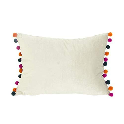 DOKOT Terciopelo Fundas de Almohada Soft Decorativa Fundas de Cojín Caso con Pompón para Sofá Dormitorio Auto 30 x 50 cm Blanco