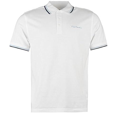 Pierre Cardin Tipped Herren Polo Shirt Kurzarm Tee Top Polohemd Poloshirt Weiss Large