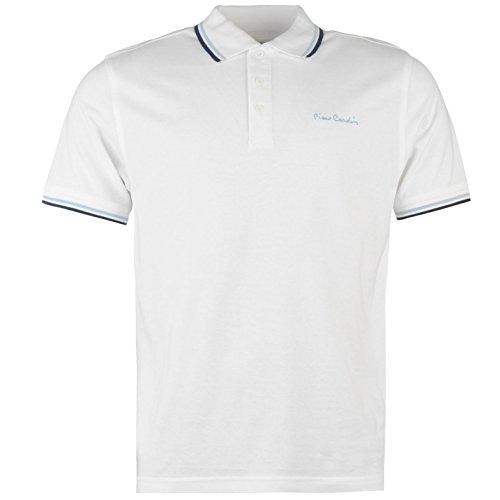 Pierre Cardin Tipped Herren Polo Shirt Kurzarm Tee Top Polohemd Poloshirt Weiss Small (Männer-unterwäsche Polo)