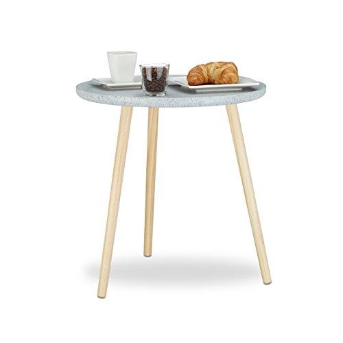 Relaxdays 10020990 Tavolino da Salotto Rotondo, Legno, Grigio, HxLxP 49 x 48 x 48 cm
