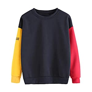Sweatshirt Womens,Deloito Ladies Patchwork Long Sleeve Autumn Loose Sport Pullover Teen Girls Blouse Chic Fashion Top T-Shirt Jumper Casual Crop Tops