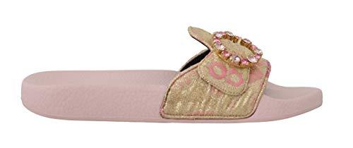 Pink Gold Brocade Beachwear Slides