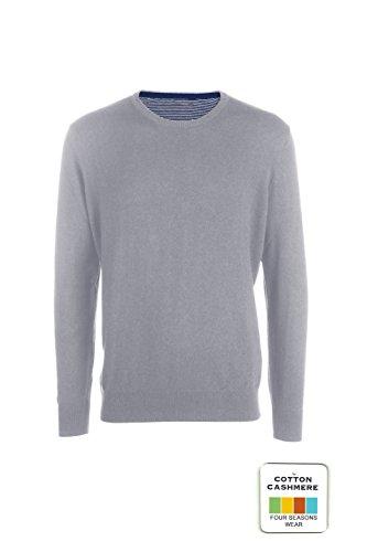 MY BASIC Andrew - Pull Mann in Baumwolle- Kaschmir. Runder Ausschnitt Light Grey Melange