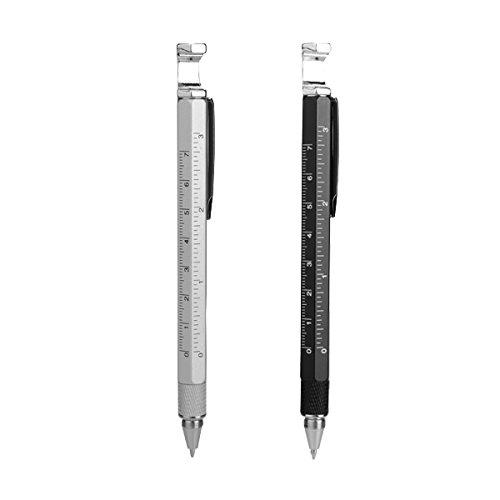 RanDal 8 in 1 Metall Multitool Pen Handlicher Schraubendreher Lineal Kapazitätsöffner - Silber