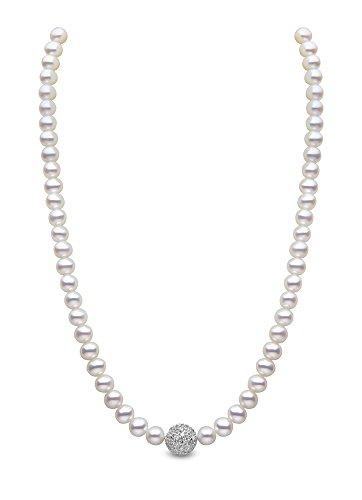 Kimura-Braccialetto con perle di fiume, in argento sterling, 5,5 mm, colore: bianco (a chicco di riso-Collana con perle d'acqua dolce, lunghezza 16,5