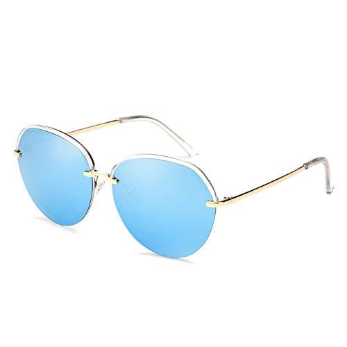 Farbfilm-Sonnenbrille-weiblicher Runder Gesichts-Polarisator-großer Rahmen-treibender Spiegel Bunter Retro- Polarisator, Anti-UVfarbton, Klar Und Einfach Zu Säubern Und Haltbar. ( Color : Blue )