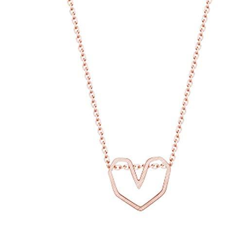 BSDN01 Minimalist Herz Halskette Schmuck Weihnachtsfeier Ornamente Joker Kostüme, Rose Gold