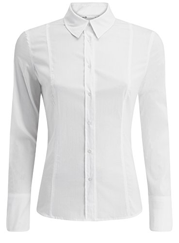 oodji Collection Damen Baumwoll-Hemd Basic, Weiß, DE 38 / EU 40 / M