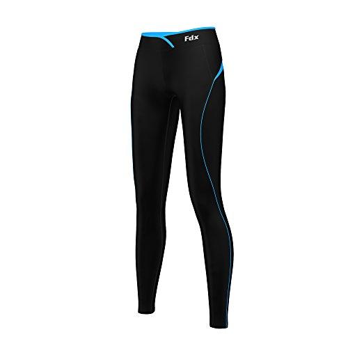 Super FDX termica da donna, strato Base a compressione, Leggings, pantaloni aderenti da corsa, palestra, Fitness Nero/Azzurro S (UK Dress Size 8-10)