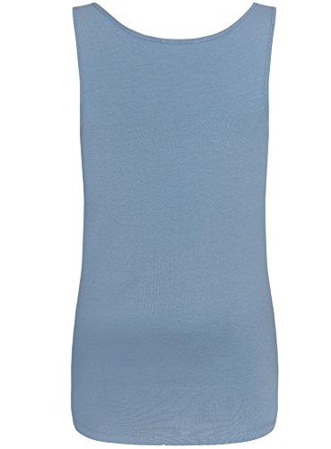 oodji Collection Femme Débardeur Basique Bleu (7400N)