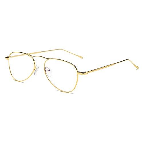 Mxssi Metal Frame Aviator Brillen, Anti Blue Light Gläser Rahmen für Männer Frauen Reading Eyewear