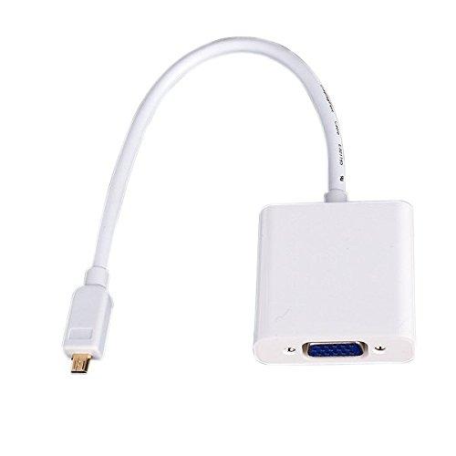 Micro HDMI Stecker auf VGA Buchse Video Kabel Konverter Adapter - Weiß